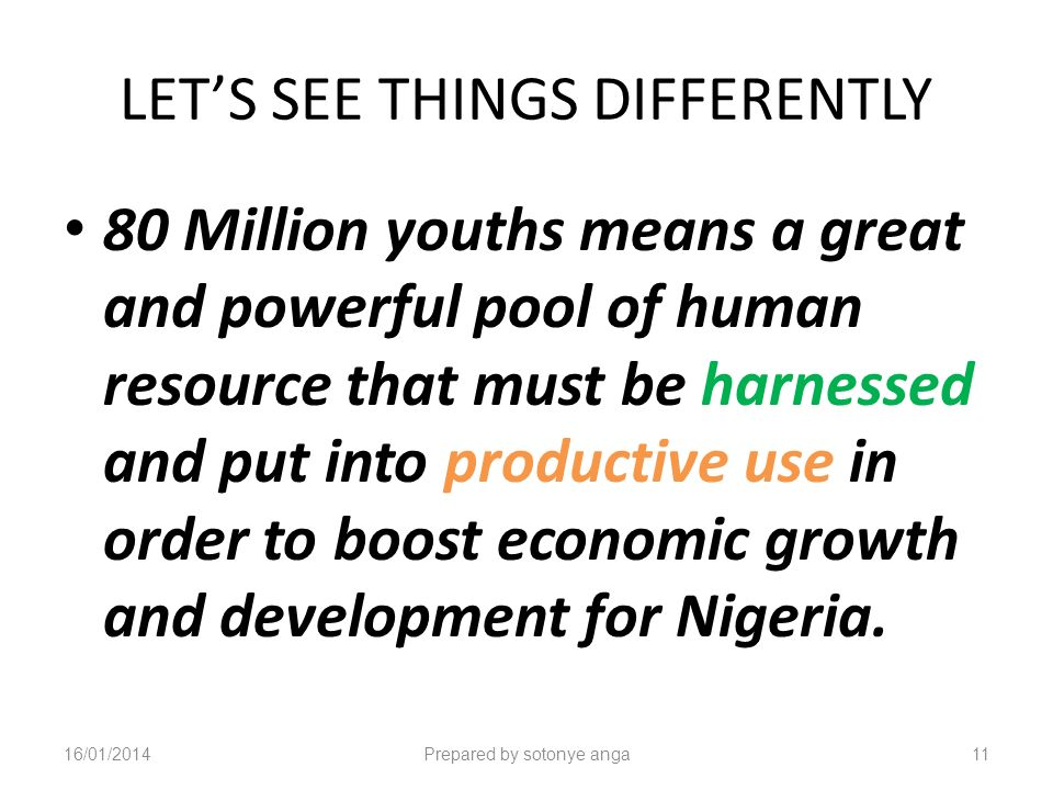 LETS SEE THINGS DIFFERENTLY 80 Million youths means a great and powerful pool of human resource that must be harnessed and put into productive use in order to boost economic growth and development for Nigeria.