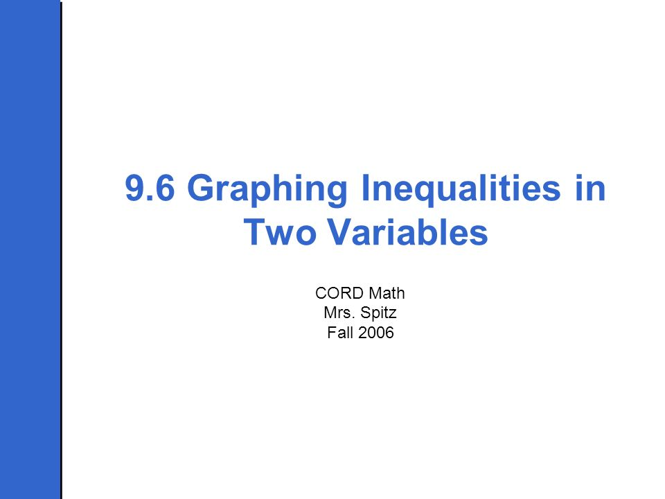 9.6 Graphing Inequalities in Two Variables CORD Math Mrs. Spitz Fall 2006