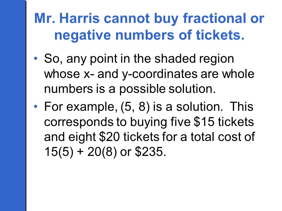 Mr. Harris cannot buy fractional or negative numbers of tickets. So, any point in the shaded region whose x- and y-coordinates are whole numbers is a