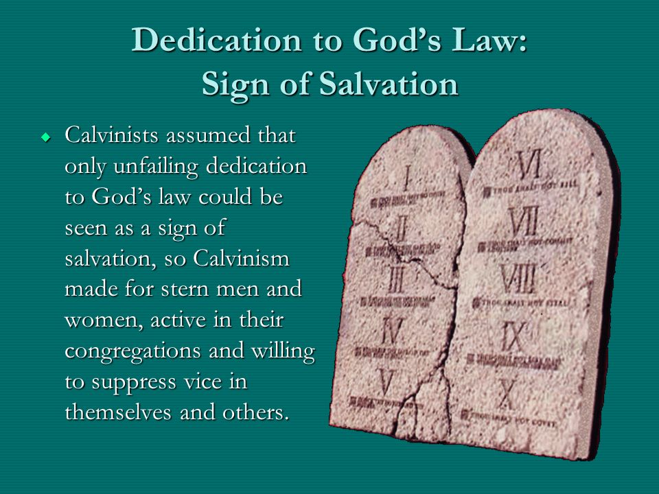 Dedication to Gods Law: Sign of Salvation Calvinists assumed that only unfailing dedication to Gods law could be seen as a sign of salvation, so Calvi