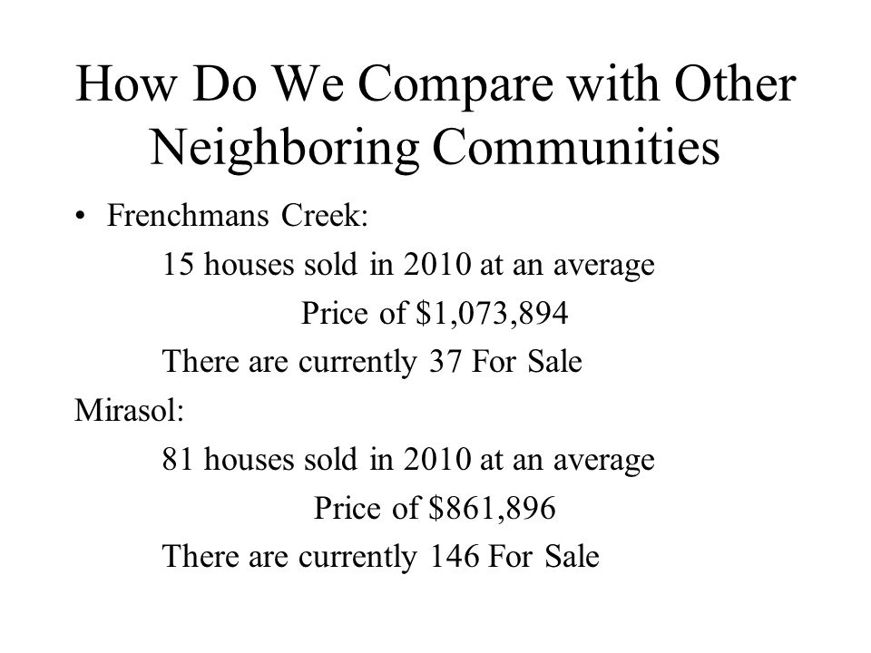 How Do We Compare with Other Neighboring Communities Frenchmans Creek: 15 houses sold in 2010 at an average Price of $1,073,894 There are currently 37 For Sale Mirasol: 81 houses sold in 2010 at an average Price of $861,896 There are currently 146 For Sale
