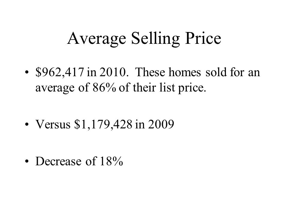 Average Selling Price $962,417 in 2010. These homes sold for an average of 86% of their list price.