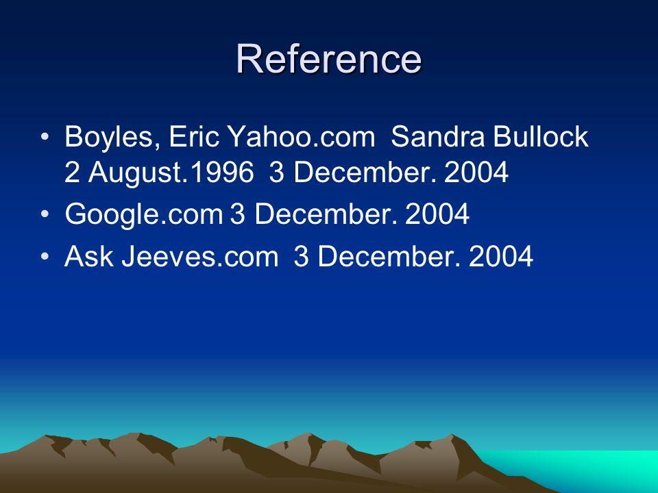 Reference Boyles, Eric Yahoo.com Sandra Bullock 2 August.1996 3 December. 2004 Google.com 3 December. 2004 Ask Jeeves.com 3 December. 2004