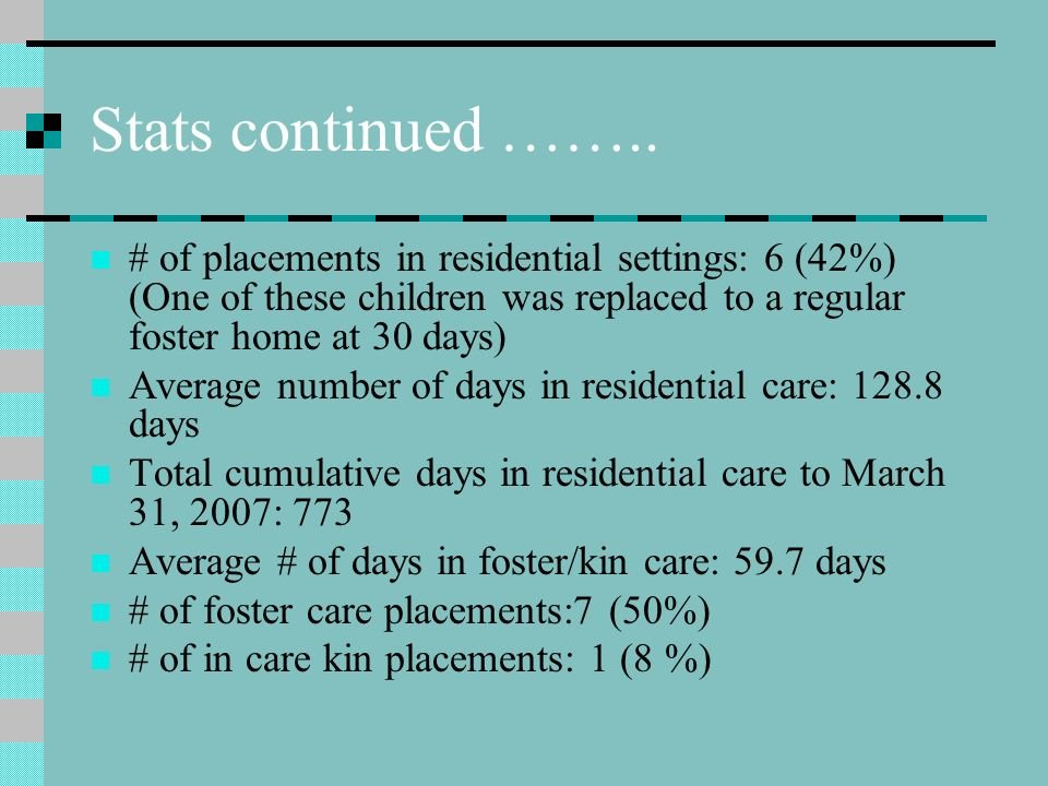 Relevant Statistics 2006/7 Child in Care Stats for 2006/7 fiscal year (Adolescent Program) # of children admitted into care in the 2006/7 fiscal year: 14 Total number of days in care: 1311 Average # of days in care: 93.6 Average # of days in care (excluding the 4 children identified as beyond the programs scope: 60.8 Percentage of children admitted to the adolescent program who remained in care as of March 31, 2007: 14% (2 children, both of whom were admitted just prior to the end of the fiscal year)