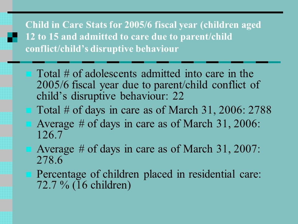 Stats continued …….. # of placements in residential settings: 6 (42%) (One of these children was replaced to a regular foster home at 30 days) Average