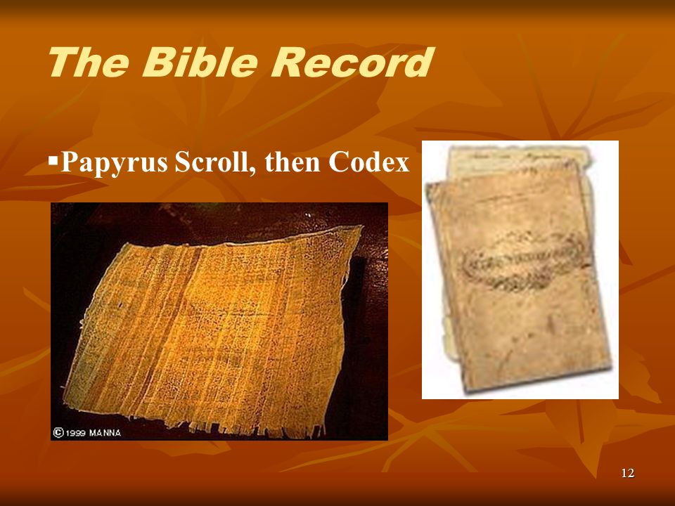 12 Papyrus Scroll, then Codex The Bible Record