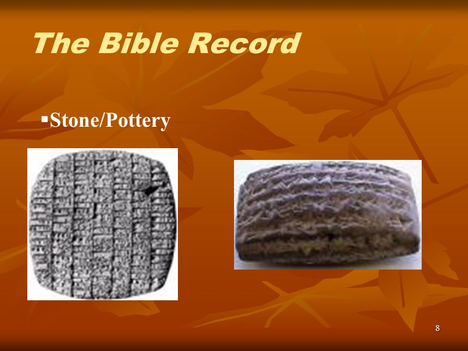 8 Stone/Pottery The Bible Record
