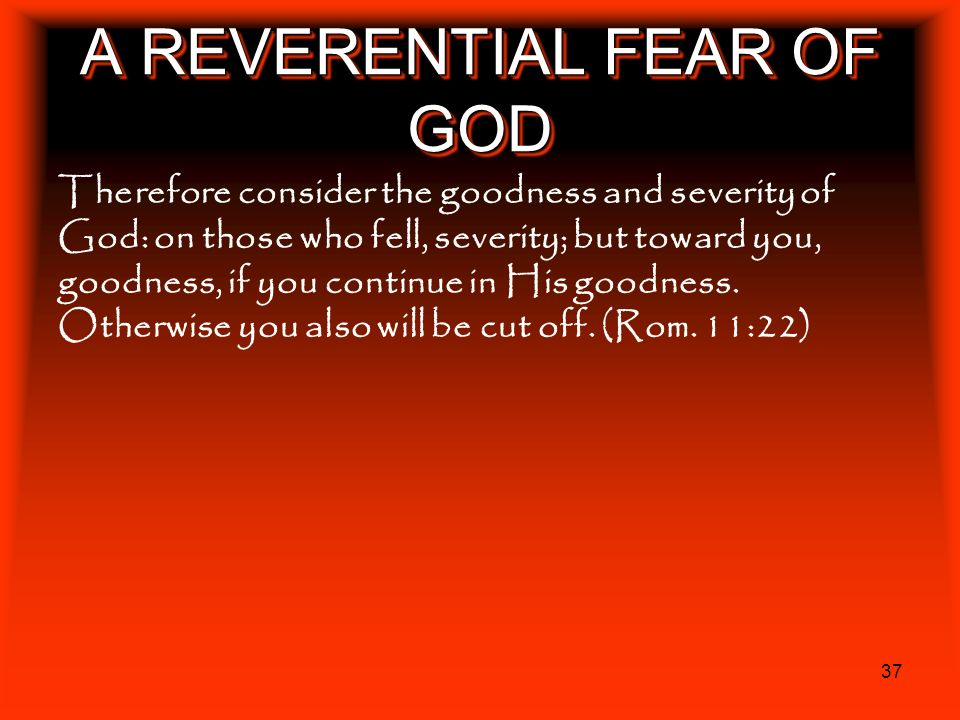 37 A REVERENTIAL FEAR OF GOD Therefore consider the goodness and severity of God: on those who fell, severity; but toward you, goodness, if you contin