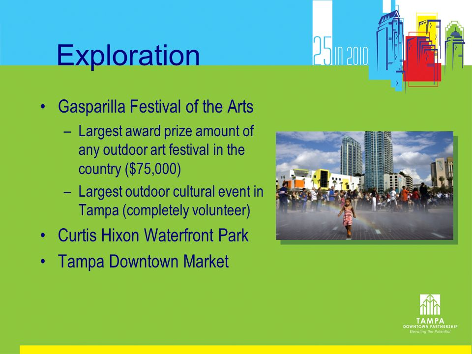 Exploration Gasparilla Festival of the Arts –Largest award prize amount of any outdoor art festival in the country ($75,000) –Largest outdoor cultural