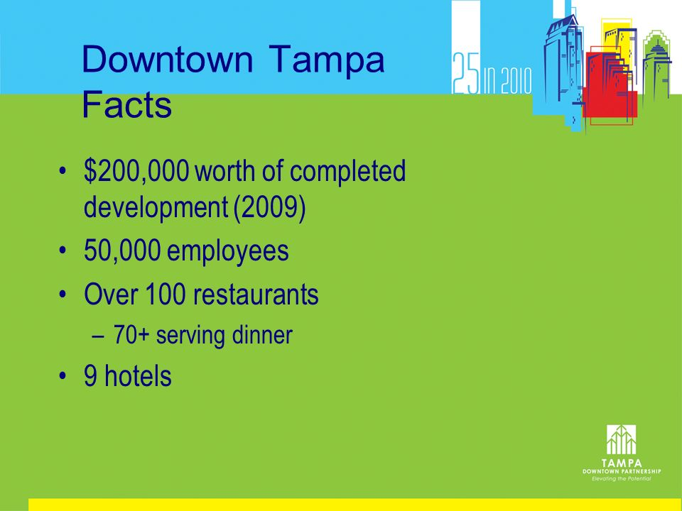 Downtown Tampa Facts $200,000 worth of completed development (2009) 50,000 employees Over 100 restaurants –70+ serving dinner 9 hotels