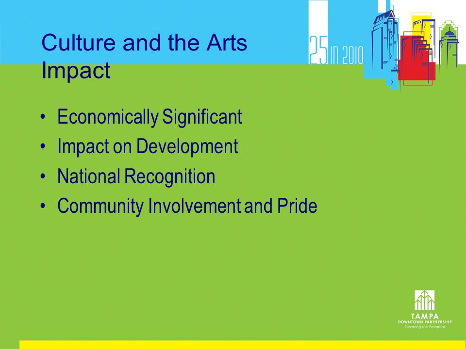 Culture and the Arts Impact Economically Significant Impact on Development National Recognition Community Involvement and Pride