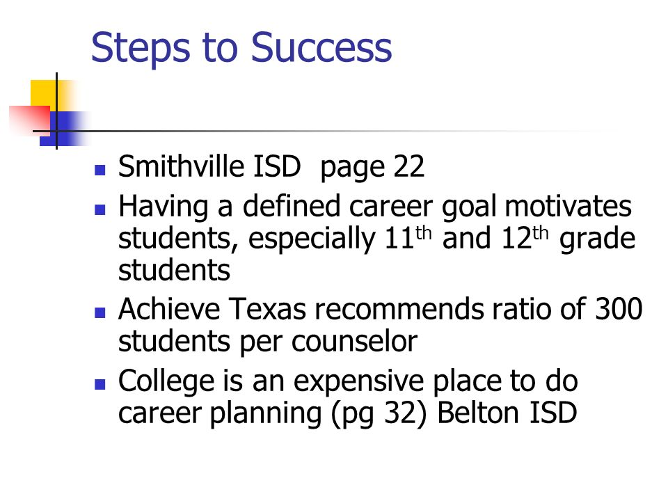 Steps to Success Smithville ISD page 22 Having a defined career goal motivates students, especially 11 th and 12 th grade students Achieve Texas recommends ratio of 300 students per counselor College is an expensive place to do career planning (pg 32) Belton ISD