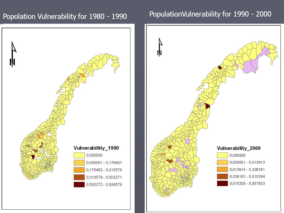 Popolation Vulnerability for 1980 - 1990 PopulationVulnerability for 1990 - 2000