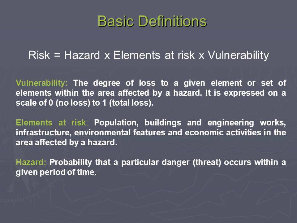 Vulnerability in Risk Assessment What are the probable dangers/problems.