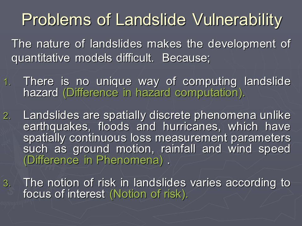 Problems of Landslide Vulnerability Difference in hazard computation