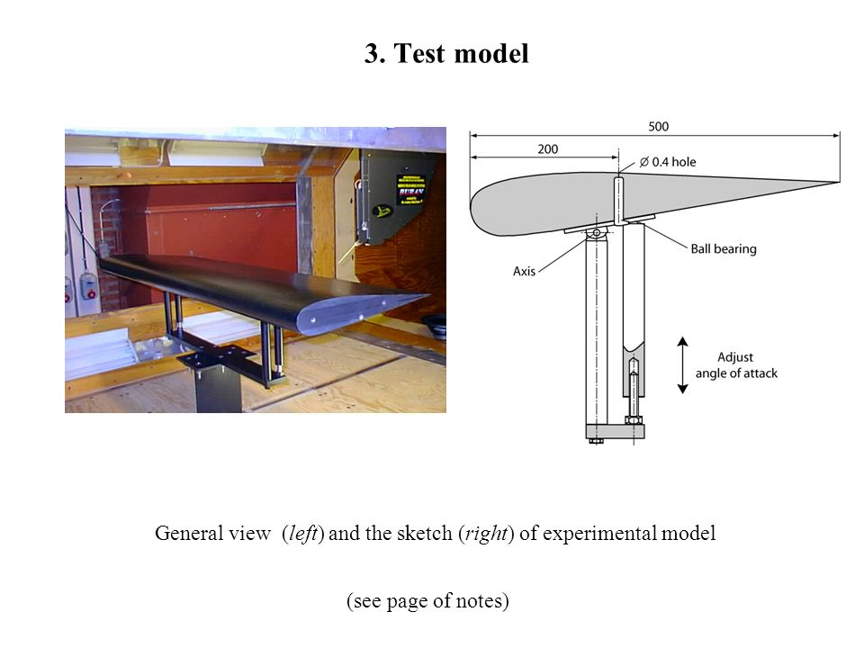 3. Test model (see page of notes) General view (left) and the sketch (right) of experimental model