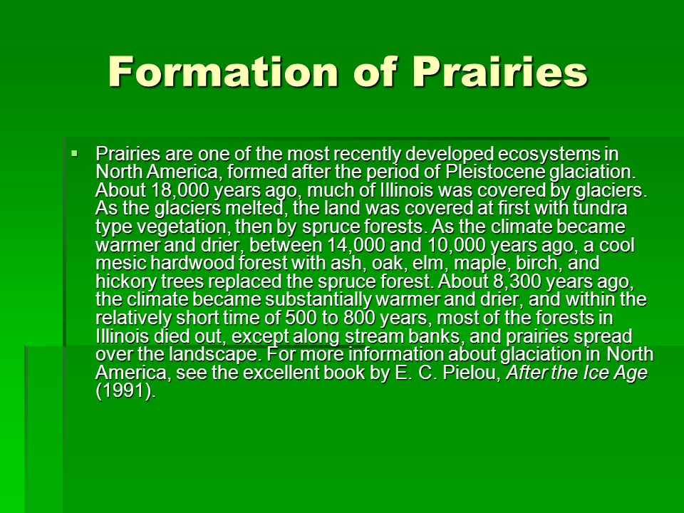 Formation of Prairies Prairies are one of the most recently developed ecosystems in North America, formed after the period of Pleistocene glaciation.
