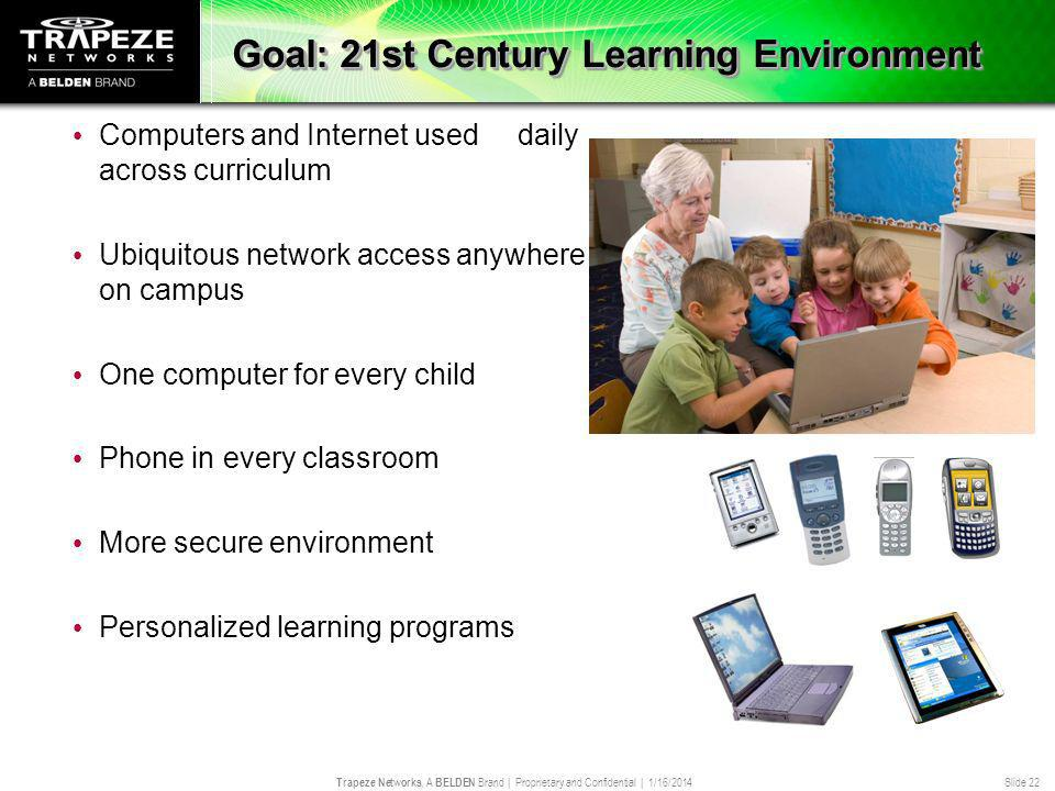Trapeze Networks, A BELDEN Brand | Proprietary and Confidential | 1/16/2014 Slide 22 Goal: 21st Century Learning Environment Computers and Internet us