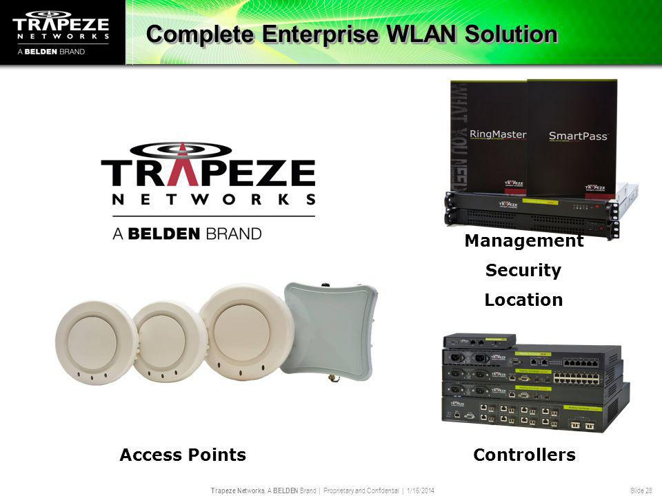 Trapeze Networks, A BELDEN Brand | Proprietary and Confidential | 1/16/2014 Slide 28 Complete Enterprise WLAN Solution Controllers Management Security
