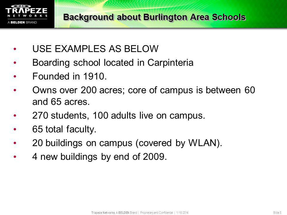 Trapeze Networks, A BELDEN Brand | Proprietary and Confidential | 1/16/2014 Slide 5 Background about Burlington Area Schools USE EXAMPLES AS BELOW Boa