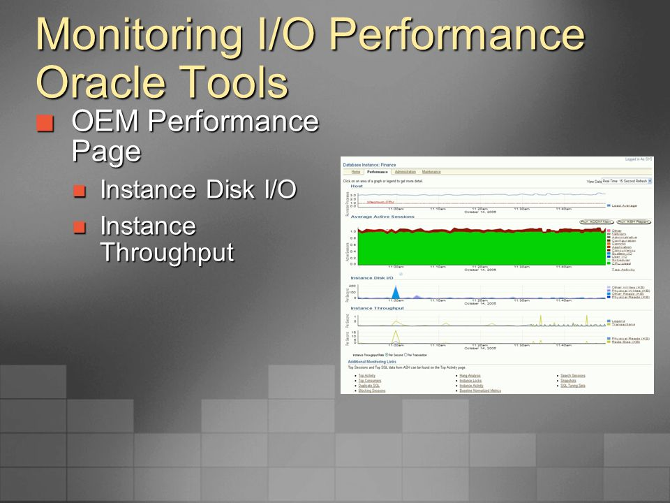 Monitoring I/O Performance Oracle Tools Oracle Counters for Windows Performance Monitor Oracle Counters for Windows Performance Monitor Add Oracle Data Files counter Add Oracle Data Files counter physreads/sec physreads/sec Physwrites/se Physwrites/se Choose data files to monitor Choose data files to monitor Shows I/O for database files Shows I/O for database files