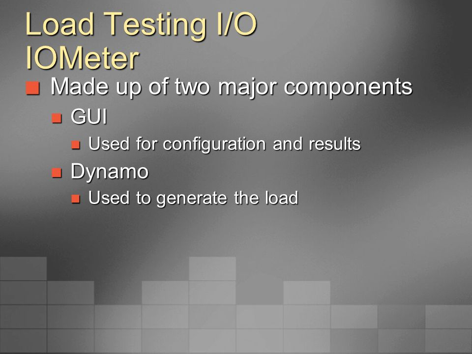Load Testing I/O IOMeter Configuring IOMeter Configuring IOMeter Disk Targets Disk Targets Network Targets Network Targets Access Specifications Access Specifications Results Display Results Display Test Setup Test Setup