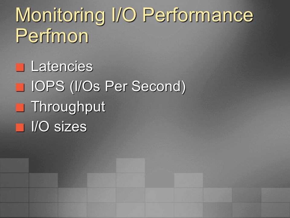 Monitoring I/O Performance Perfmon Latencies Latencies Avg.