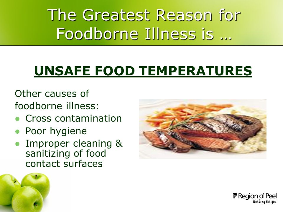 The Greatest Reason for Foodborne Illness is … Other causes of foodborne illness: Cross contamination Poor hygiene Improper cleaning & sanitizing of f