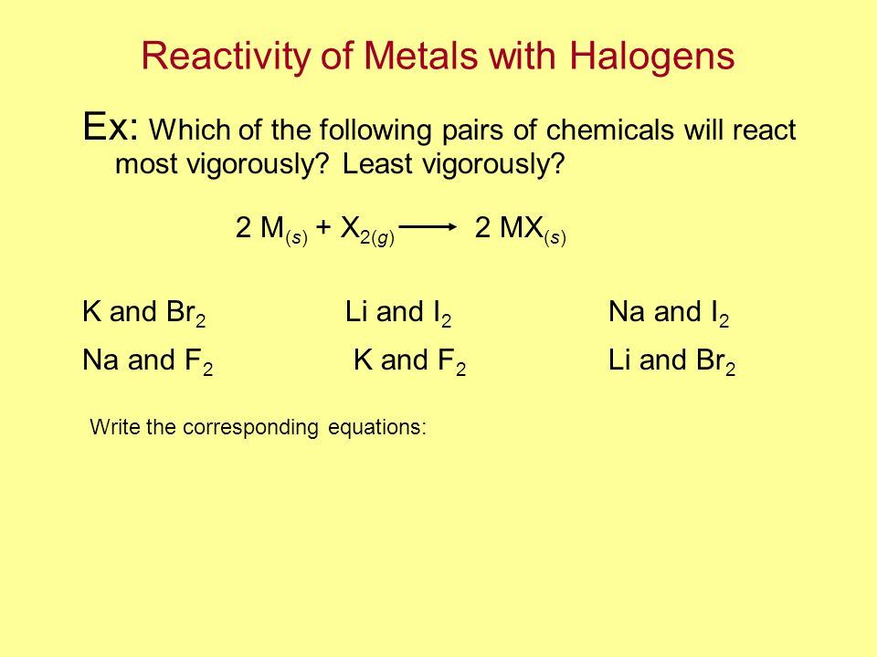 Reactivity of Metals with Halogens Ex: Which of the following pairs of chemicals will react most vigorously? Least vigorously? K and Br 2 Li and I 2 N