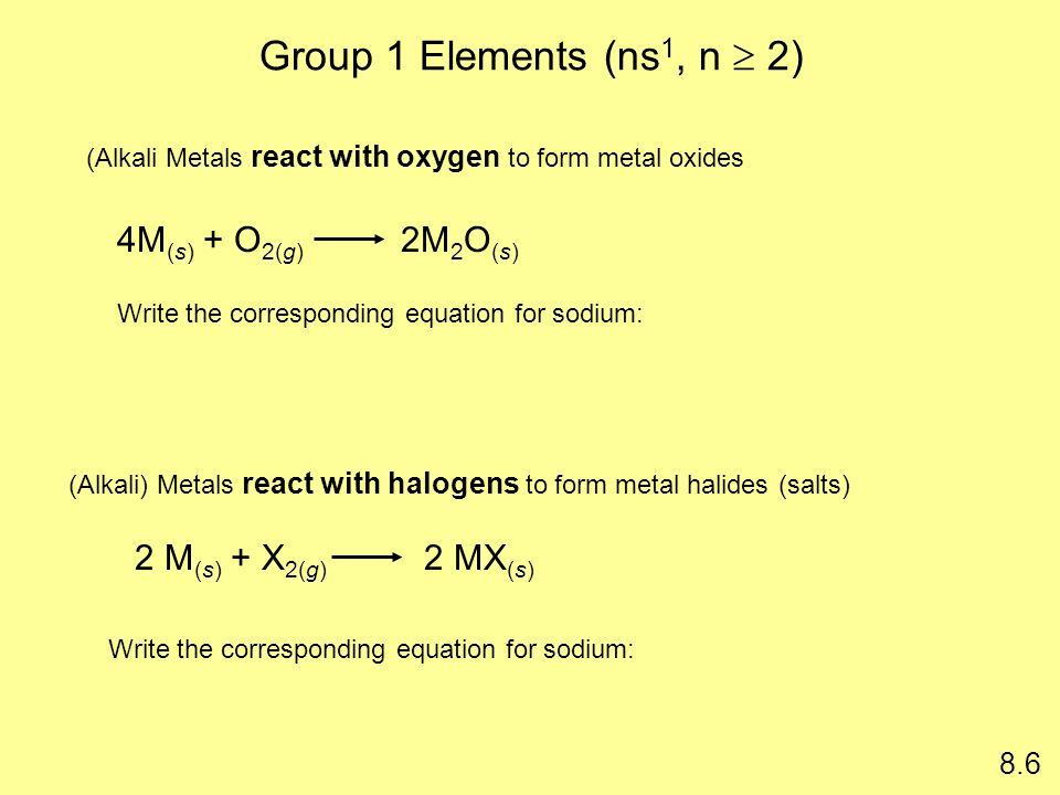 Group 1 Elements (ns 1, n 2) 4M (s) + O 2(g) 2M 2 O (s) 8.6 (Alkali Metals react with oxygen to form metal oxides 2 M (s) + X 2(g) 2 MX (s) (Alkali) M