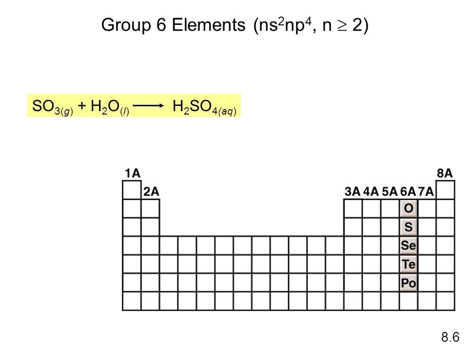 Group 6 Elements (ns 2 np 4, n 2) 8.6 SO 3(g) + H 2 O (l) H 2 SO 4(aq)
