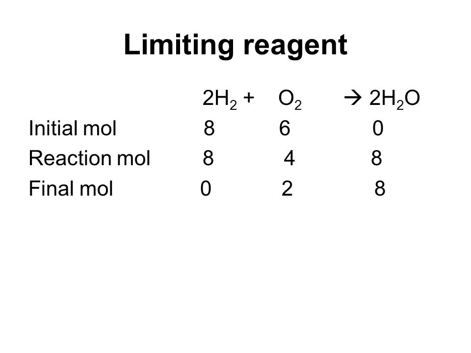 Limiting reagent 2H 2 + O 2 2H 2 O Initial mol 8 6 0 Reaction mol 8 4 8 Final mol 0 2 8