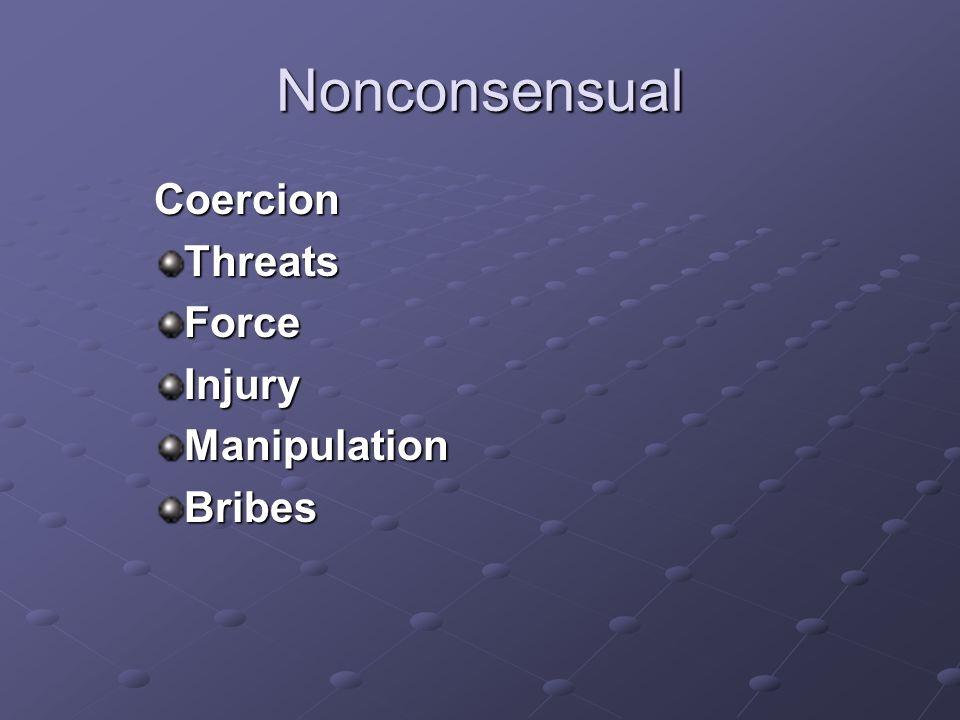 Nonconsensual CoercionThreatsForceInjuryManipulationBribes