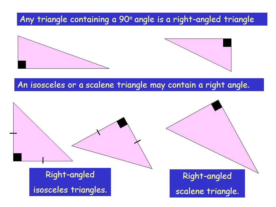Any triangle containing a 90 o angle is a right-angled triangle An isosceles or a scalene triangle may contain a right angle. Right-angled isosceles t