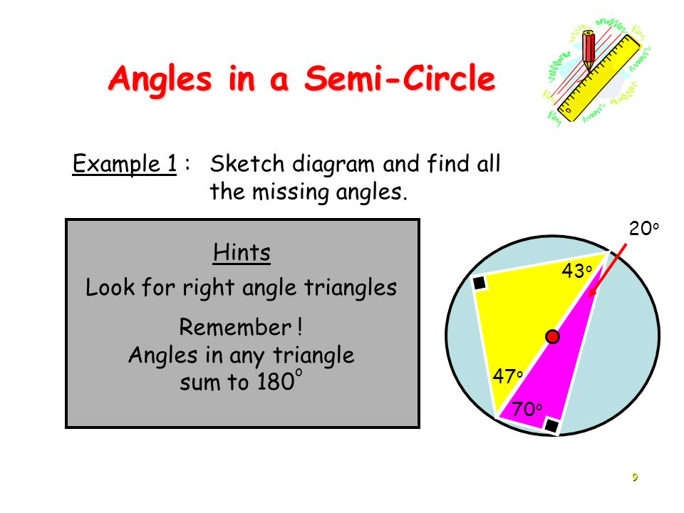 9 Hints Example 1 : Sketch diagram and find all the missing angles. 70 o Look for right angle triangles 43 o 20 o 47 o Remember ! Angles in any triang