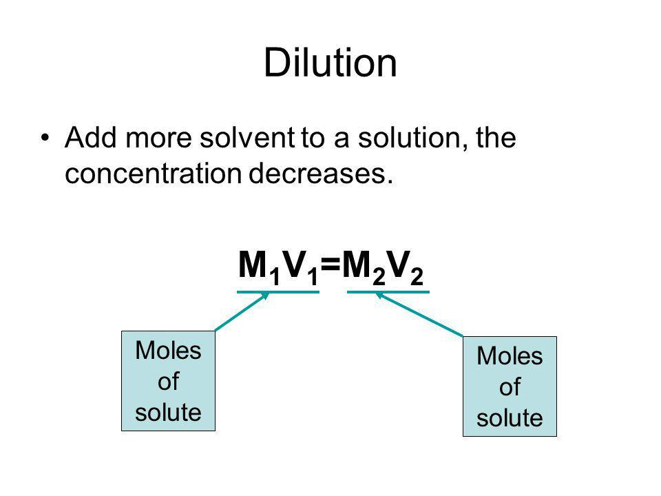 Dilution Add more solvent to a solution, the concentration decreases.