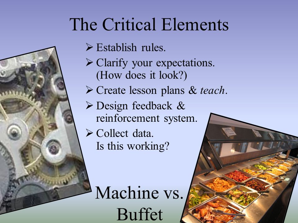 The Critical Elements Establish rules. Clarify your expectations. (How does it look?) Create lesson plans & teach. Design feedback & reinforcement sys