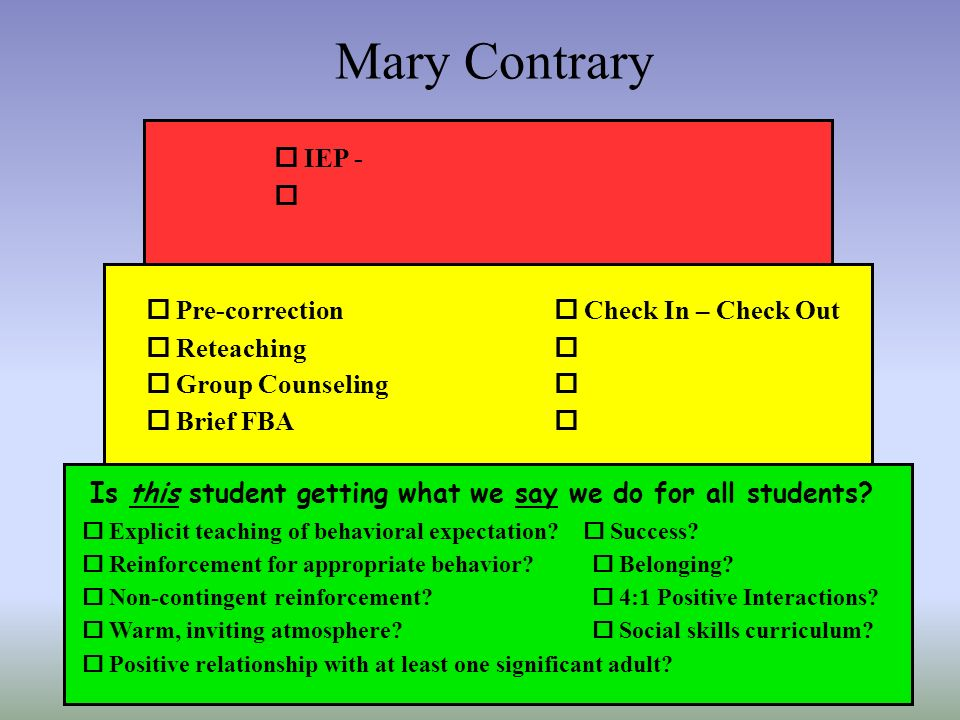 Mary Contrary Is this student getting what we say we do for all students? Explicit teaching of behavioral expectation? Success? Reinforcement for appr