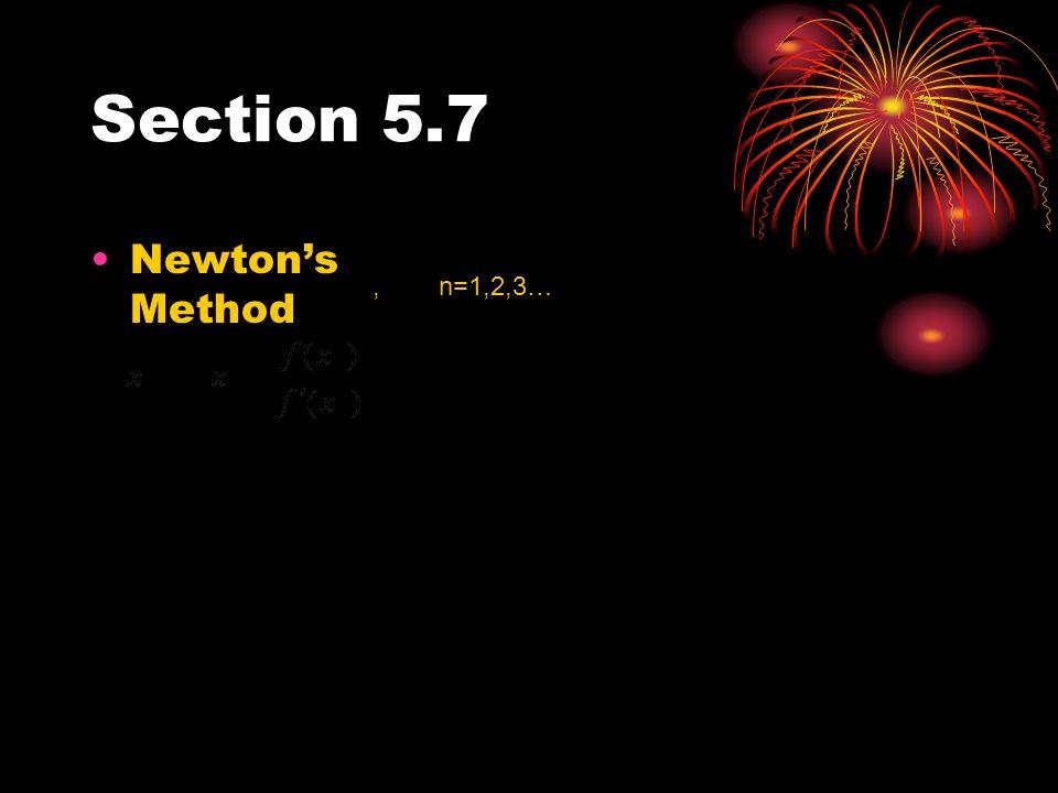 Section 5.7 Newtons Method, n=1,2,3…