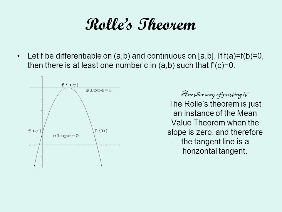 Another way of putting it : The Rolles theorem is just an instance of the Mean Value Theorem when the slope is zero, and therefore the tangent line is