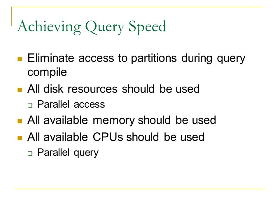 Achieving Load Speed