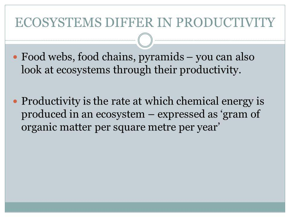 ECOSYSTEMS DIFFER IN PRODUCTIVITY Food webs, food chains, pyramids – you can also look at ecosystems through their productivity.