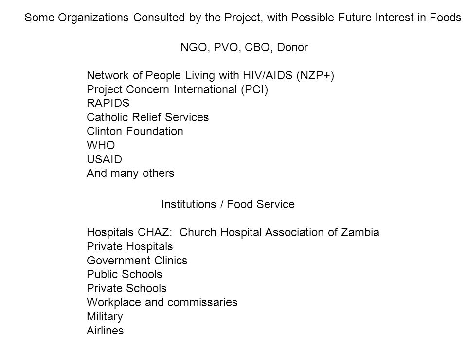 NGO, PVO, CBO, Donor Network of People Living with HIV/AIDS (NZP+) Project Concern International (PCI) RAPIDS Catholic Relief Services Clinton Foundat