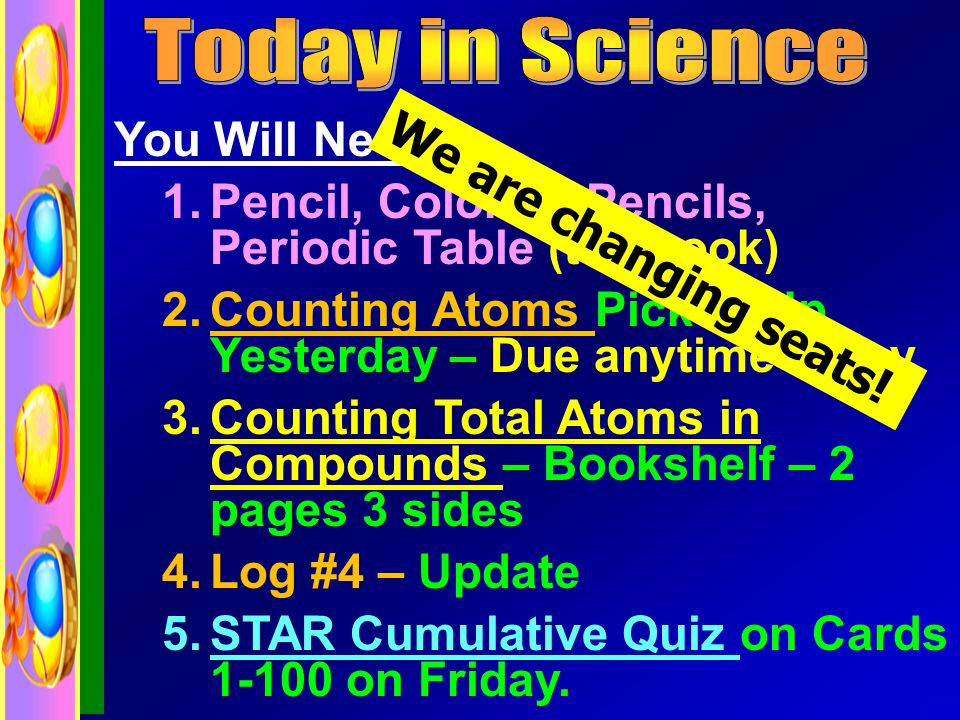 You Will Need: 1.Pencil, Colored Pencils, Periodic Table (textbook) 2.Counting Atoms Picked Up Yesterday – Due anytime today 3.Counting Total Atoms in Compounds – Bookshelf – 2 pages 3 sides 4.Log #4 – Update 5.STAR Cumulative Quiz on Cards 1-100 on Friday.