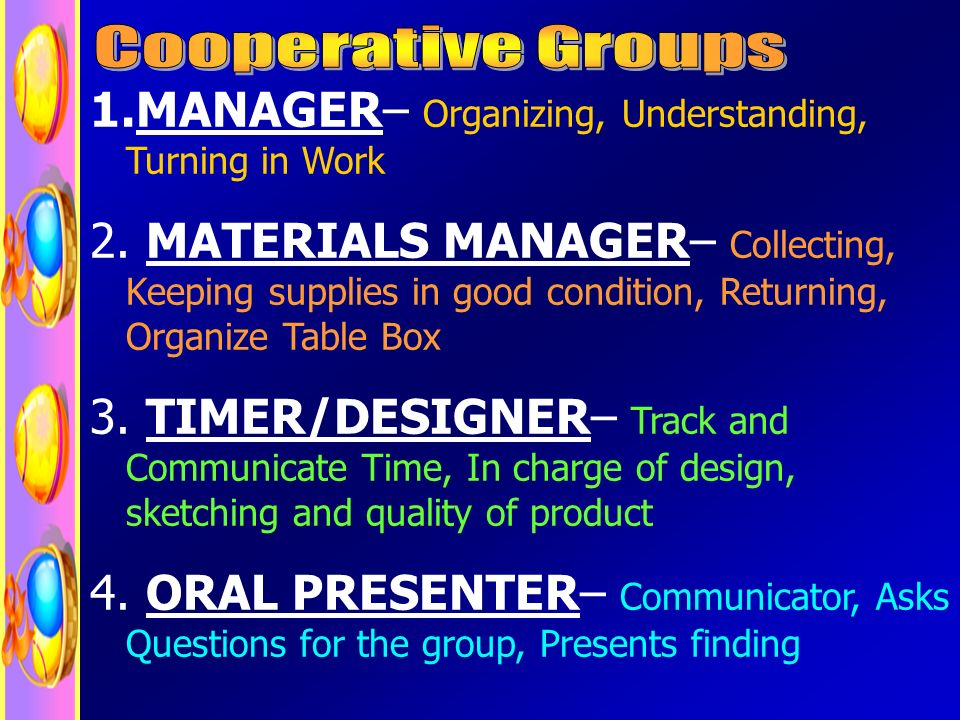 1.MANAGER– Organizing, Understanding, Turning in Work 2.