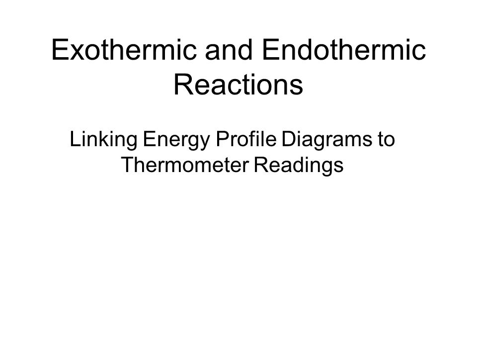 Exothermic and Endothermic Reactions Linking Energy Profile Diagrams to Thermometer Readings