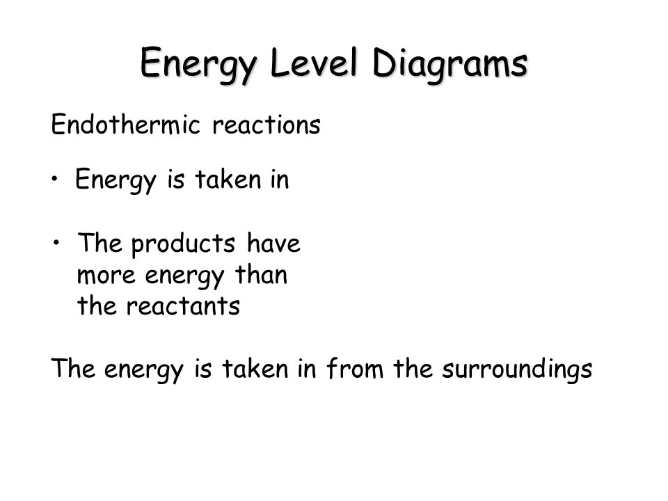 Energy Level Diagrams Endothermic reactions Energy is taken in The products have more energy than the reactants The energy is taken in from the surrou