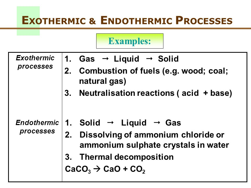 E XOTHERMIC & E NDOTHERMIC P ROCESSES 1.Solid Liquid Gas 2.Dissolving of ammonium chloride or ammonium sulphate crystals in water 3.Thermal decomposit