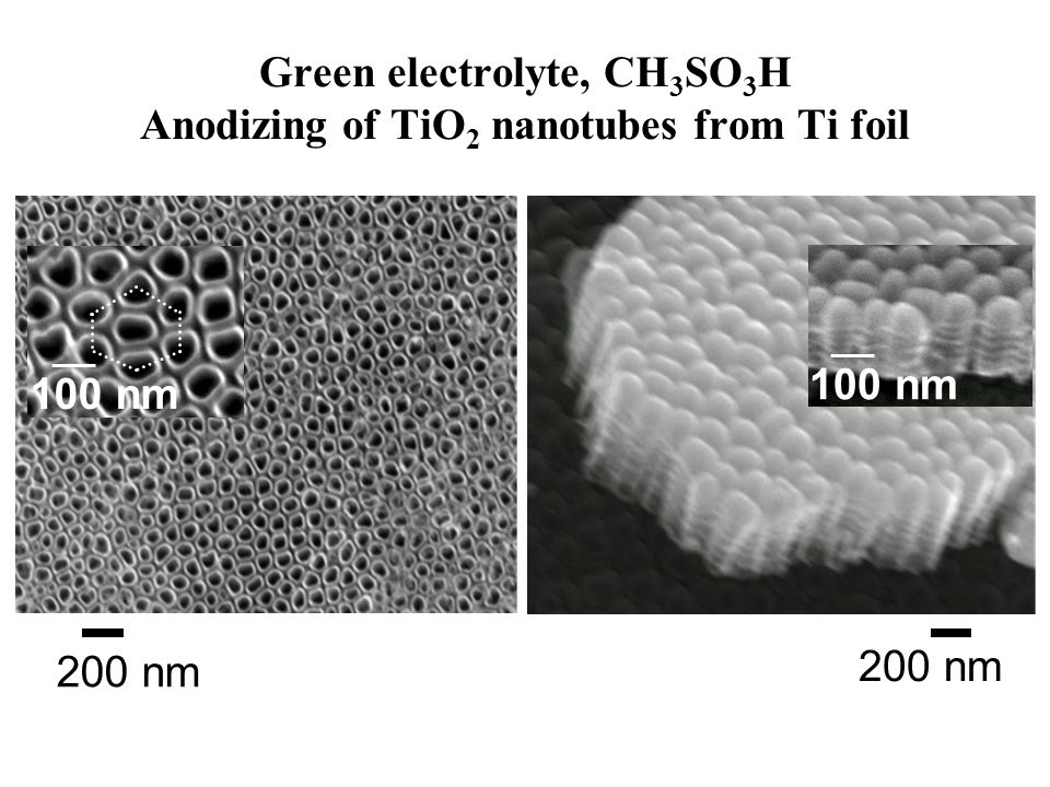 Green electrolyte, CH 3 SO 3 H Anodizing of TiO 2 nanotubes from Ti foil 200 nm 100 nm