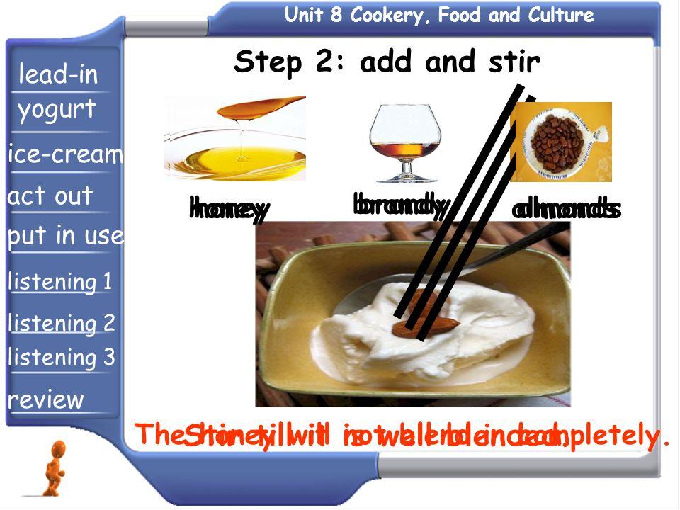 honey brandy almonds The honey will not blend in completely. Stir till it is well blended. Step 2: add and stir honey brandy almonds lead-in yogurt ic